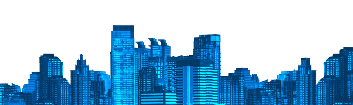 Blue cityscapes isolated on white background