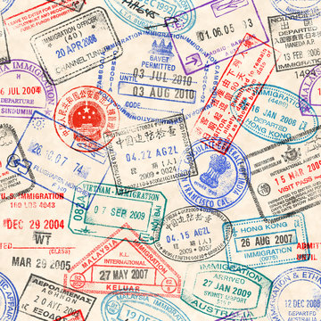 Seamless texture with real visa stamps