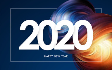 Happy New Year 2020. Greeting card with colorful 3d abstract liquid shape. Trendy design