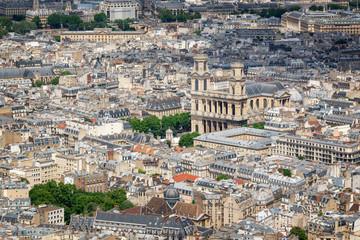 Wall Mural - Aerial view of Saint Sulpice church in Paris France