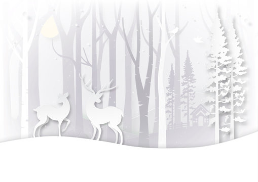 Winter season landscape and christmas day concept with deer wildlife in forest background paper art style.Vector illustration.