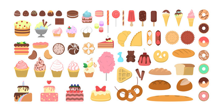 Dessert concept. Cake and donut, muffin and chocolate
