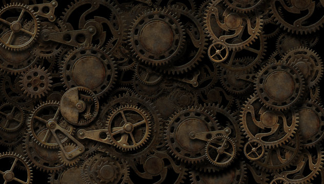 Steampunk clockwork mechanism background