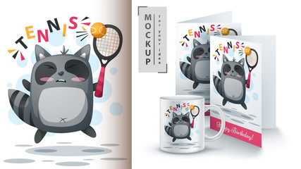 Raccoon play tennis - mockup for your idea