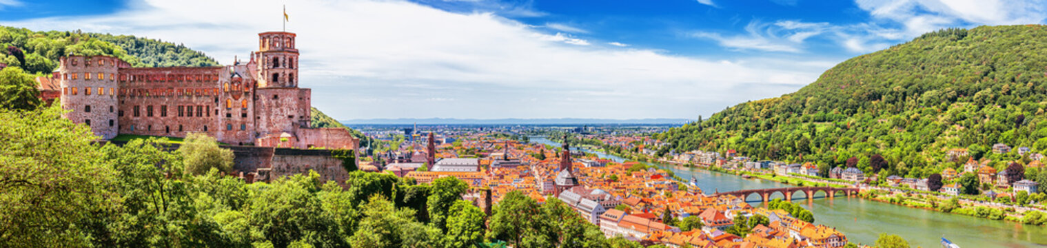 Heidelberg, Germany, aerial panoramic view with the castle, Neckar river and the Old Bridge