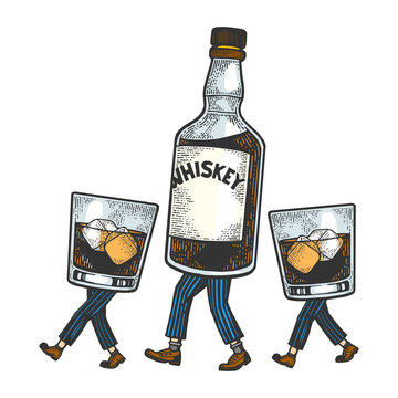 Whiskey alcohol bottle with ice and glasses walks on its feet color sketch engraving vector illustration. Scratch board style imitation. Black and white hand drawn image.