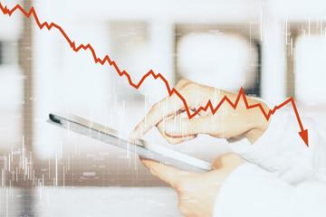 Decrease, internet and trade concept
