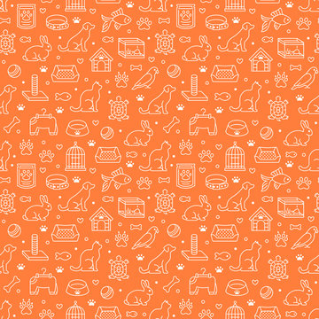 Pet shop vector seamless pattern with flat line icons of dog house, cat food, bird cage, rabbit, fish aquarium, animal paw. Orange white color background, wallpaper for veterinary clinic