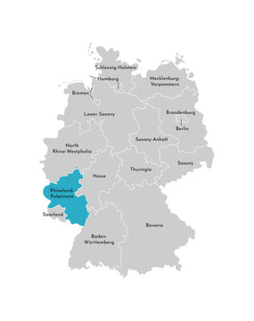 Vector isolated illustration of simplified administrative map of Germany. Blue silhouette of Rhineland-Palatinate (state). Grey silhouettes. White outline