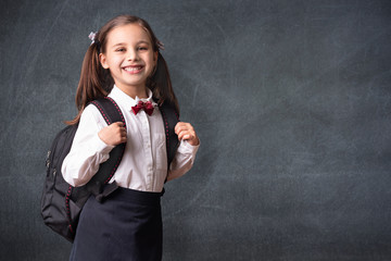 Back To School Concept, Portrait of Happy Smiling Child Student at Blackboard