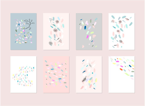 Hand drawn abstract pastel baby shower card with brush confetti