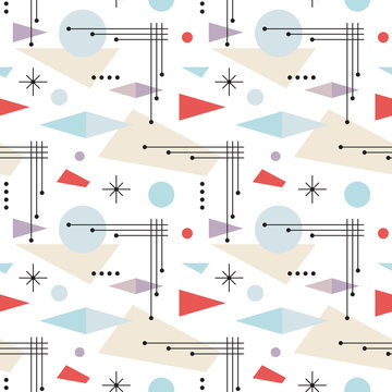 Mid-century modern art vector background. Abstract geometric seamless pattern. Decorative ornament in retro vintage design style.