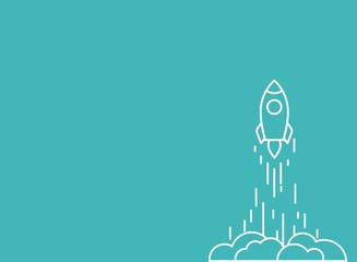 Rocket line ship with fire and clouds. Isolated on powder blue. Flat linear vector illustration with flying shuttle.