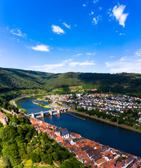 Aerial view Hirschhorn and Ersheim at river Neckar, Odenwald, Hesse, Germany,