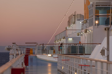 Top paddle of cruise ship at sunset