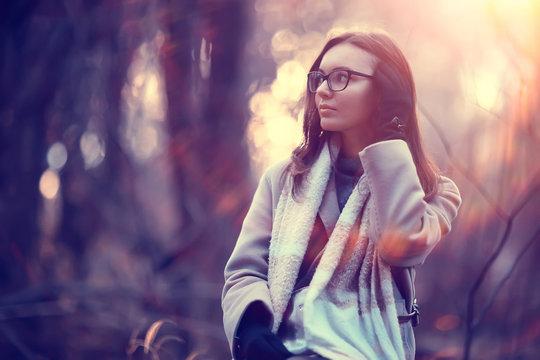 autumn girl glasses / autumn look girl in transparent glasses, eyesight