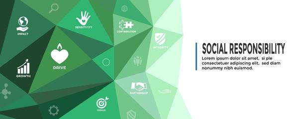 CSR-Corporate Social Responsibility Outline Icon Set - Web Header Banner