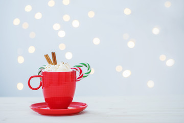 Foto auf Acrylglas Schokolade hot chocolate with marshmallow on white background