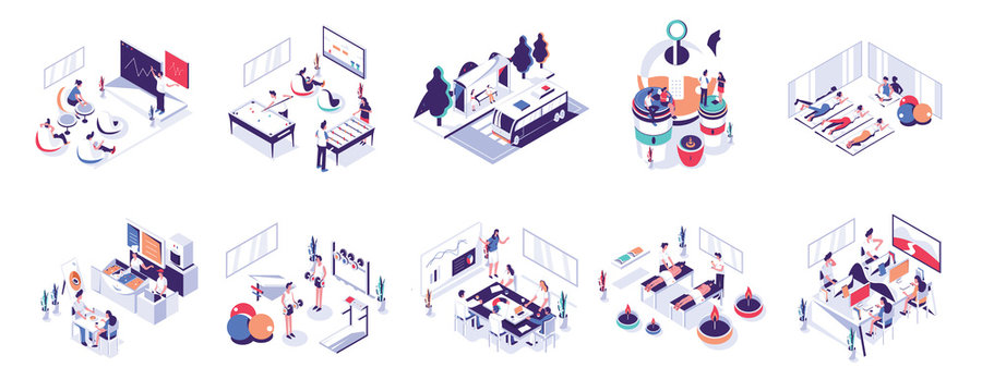 Office People and Co-Working Space Illustration Set. Modern flat design concept for website and mobile.Vector illustration EPS 10