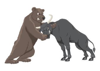 Bull and bear. Market trends. Vector illustration.