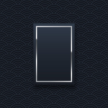Silver rectangle frame minimalistic template with text space