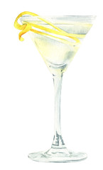 Watercolor illustration of an alcoholic cocktail Vesper Martini which is a favorite drink of James Bond