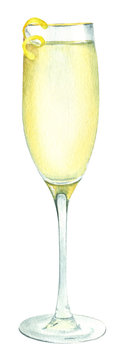 Watercolor illustration of a cocktail in a glass of champagne with lemon peel decoration
