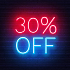 Fototapete - 30 percent off neon lettering on brick wall background. Vector illustration