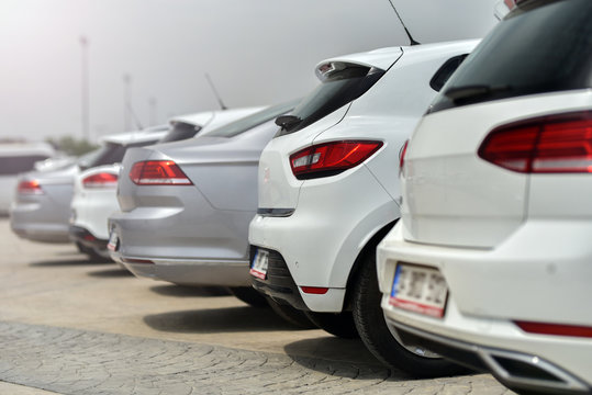 row of training cars in driving school