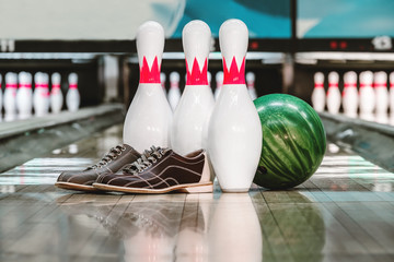 bowling ball and pins nd shoes