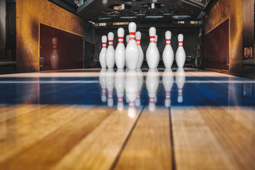 bowling alley. ball and pins.