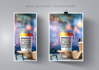 Poster and flyer template for coffee shop on blurred background.Advertising invitation to a cafe or restaurant.Vector template layout flyer or banner advertising drink.Realistic Cup of coffee.