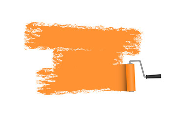 Paint roller with painted area in orange color. Roller brush. Vector illustration.