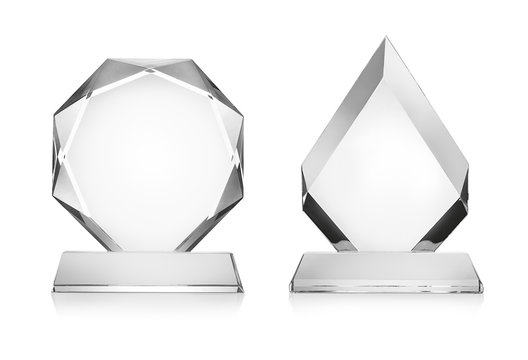 Blank glass trophy mockup isolated on white with clipping path