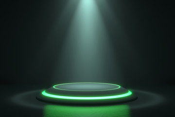 Platform for design, Blank product stand with green light glow