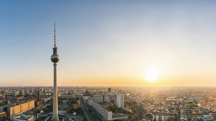 Berlin skyline Panorama Aerial view with famous TV tower at Alexanderplatz in twilight during blue hour at dusk, Germany. copyspace for your individual text.