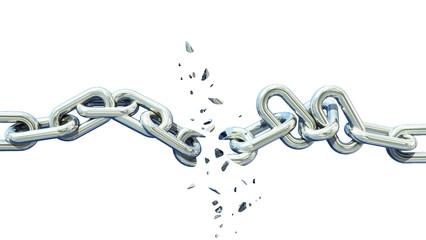 broken chain isolated separation divorce broken - 3d rendering