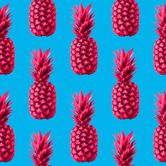 Seamless pattern with pineapple Many natural pink pineapples on a bright light blue background Zine style