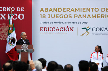 Mexico's President Andres Manuel Lopez Obrador greets the Mexican delegation competing at the 2019 Pan American Games Lima, in Mexico City