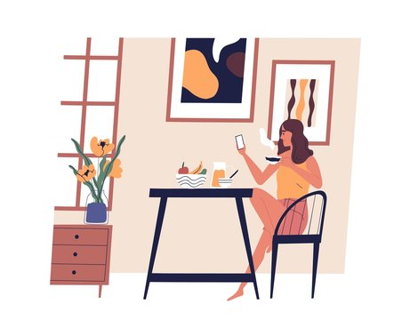 Cute girl sitting at table, using smartphone and drinking coffee. Young happy woman dining at home. Funny lady having lunch. Daily activity, everyday life. Vector illustration in flat cartoon style.