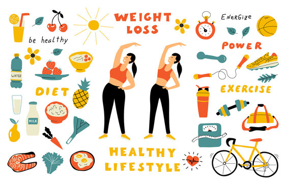 Weight loss, healthy lifestyle, cute doodle set with lettering. Cartoon fat and thin girl performing exercise. Funny woman before and after diet. Hand drawn vector flat illustration.
