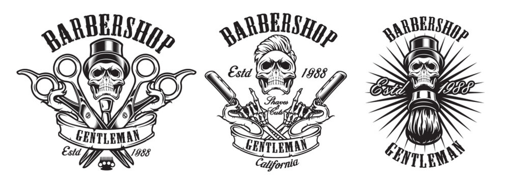 Vector of illustrations in vintage style for a barber shop with skulls