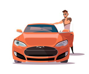 Man with sports car flat vector illustration
