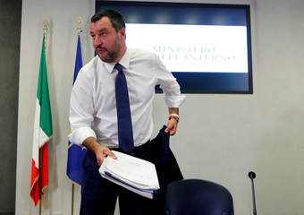Italy's Deputy PM Salvini leaves a news conference at Viminale Palace in Rome