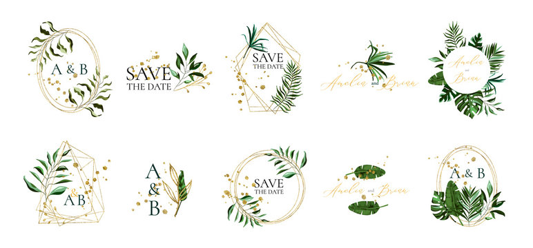 Set of floral wedding logos and monogram with elegant tropical leaves