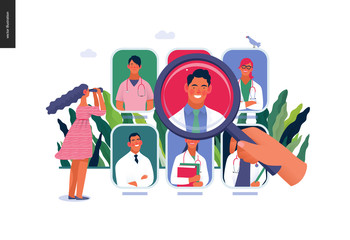 Aluminium Prints Find a doctor -medical insurance illustration -modern flat vector concept digital illustration - a hand with a magnifying glass, a woman with binocular, doctors portraits - a doctor searching metaphor