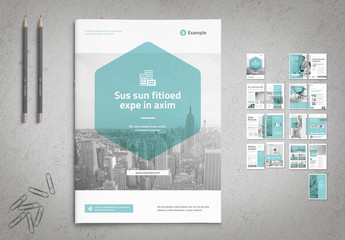 Business Brochure Layout with Light Blue Accents