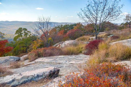 Bear Mountain Part, New York, with autumn colors at October