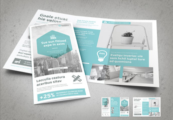Trifold Brochure Layout with Light Blue Accents