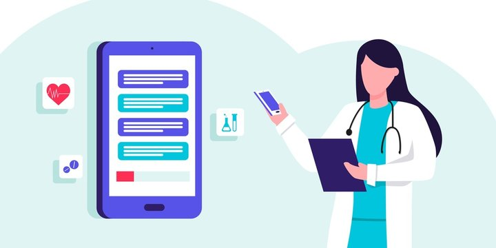 Online medical consultation and support. Online doctor. Healthcare services, Ask a doctor. Therapist in uniform with stethoscope, chatting with patients via app messenger